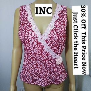 INC Pink Crossover W/Lace Sz PM
